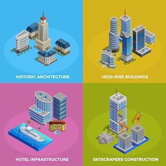 Conjunto de iconos isométricos ciudad 2x2