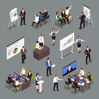 Conjunto de iconos isométricos de coaching empresarial con símbolos de estrategia y éxito aislados