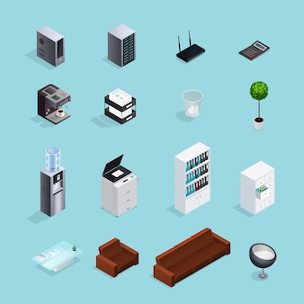 Conjunto de iconos isométricos color suministros de oficina