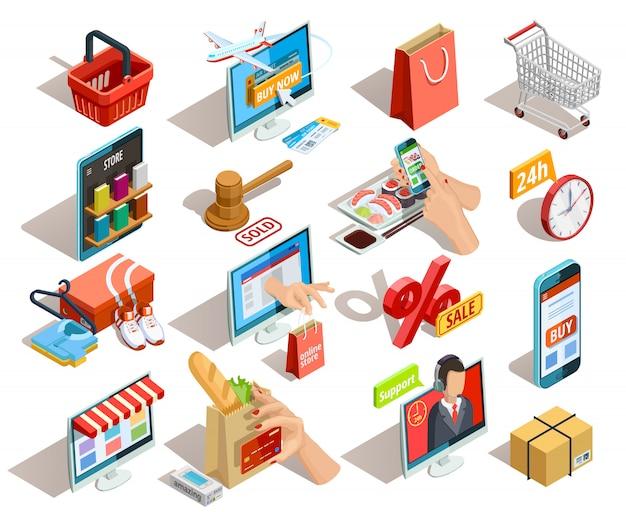 Conjunto de iconos isométricos de comercio electrónico de compras