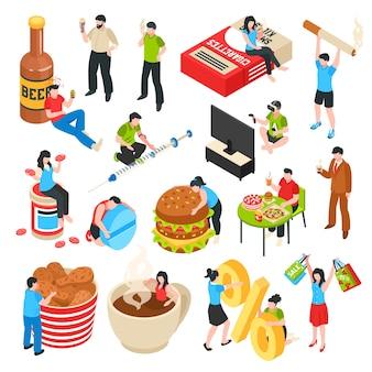 Conjunto de iconos isométricos de comida rápida de personajes humanos con malos hábitos alcohol y adicción a las compras de drogas