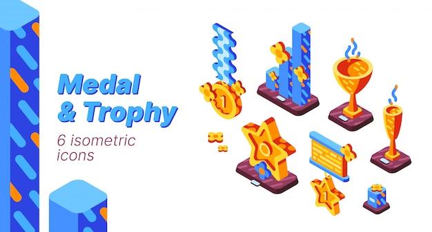 Conjunto de iconos isométricos de competencia medalla y trofeo