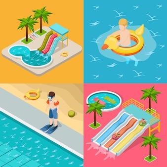 Conjunto de iconos isométricos de composición de parque acuático