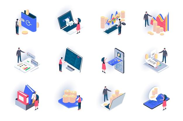 Conjunto de iconos isométricos de contabilidad empresarial. gestión financiera, consultoría y auditoría servicio ilustración plana. comercio de acciones, inversiones analíticas pictogramas de isometría 3d con personajes de personas.