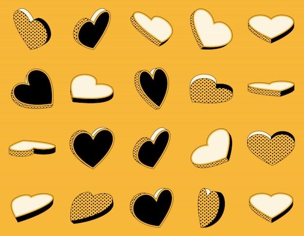 Conjunto de iconos isométricos de corazones en estilo retro