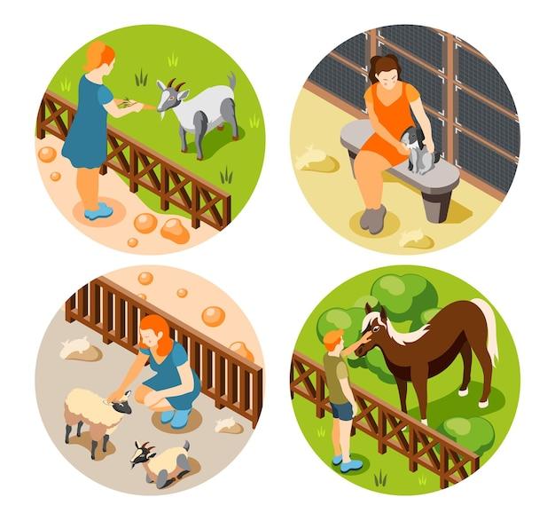 Conjunto de iconos isométricos de cuatro contactos del zoológico con personas que alimentan y tocan animales