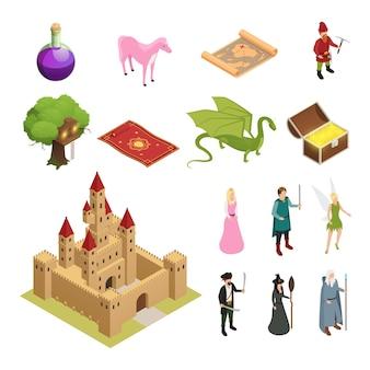 Conjunto de iconos isométricos de cuento de hadas