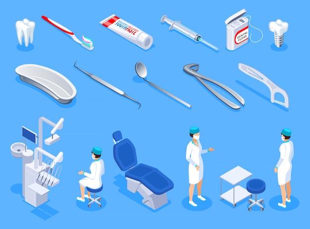 Conjunto de iconos isométricos de dentista de equipo de estomatología artículos de higiene implante y dientes aislados