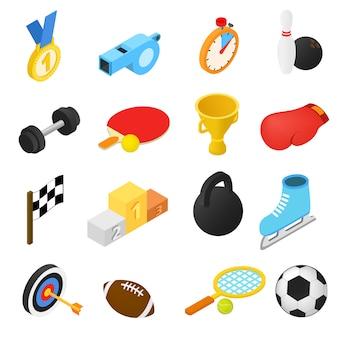 Conjunto de iconos isométricos de deporte