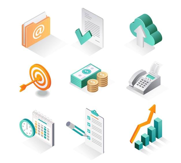 Conjunto de iconos isométricos desarrollador de negocios y correo electrónico.