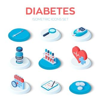 Conjunto de iconos isométricos de diabetes
