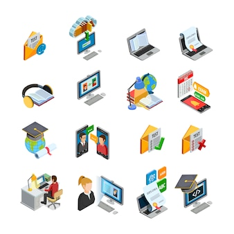 Conjunto de iconos isométricos de e-learning