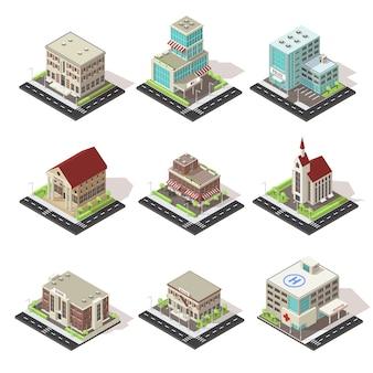 Conjunto de iconos isométricos de edificios y carreteras de la ciudad