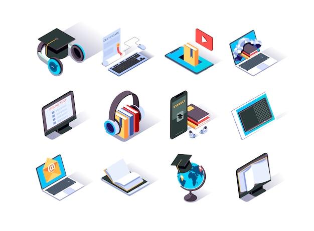 Conjunto de iconos isométricos de educación en línea.