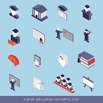 Conjunto de iconos isométricos de educación superior