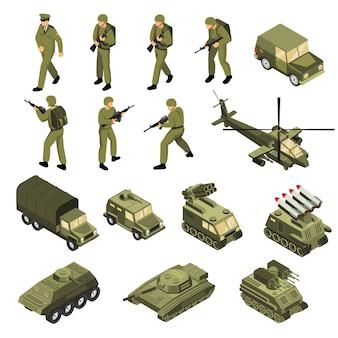 Conjunto de iconos isométricos del ejército