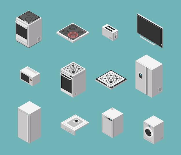 Conjunto de iconos isométricos de electrodomésticos y cocina