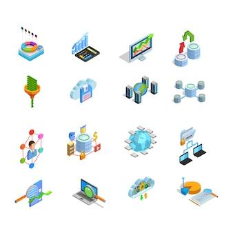 Conjunto de iconos isométricos de elementos de análisis de datos