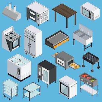 Conjunto de iconos isométricos de equipos de cocina