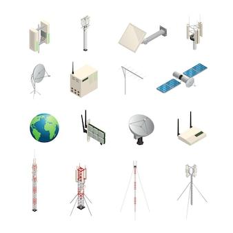 Conjunto de iconos isométricos de equipos de comunicación inalámbricos como torres, antenas de satélite, enrutador y