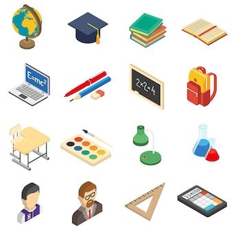Conjunto de iconos isométricos de la escuela