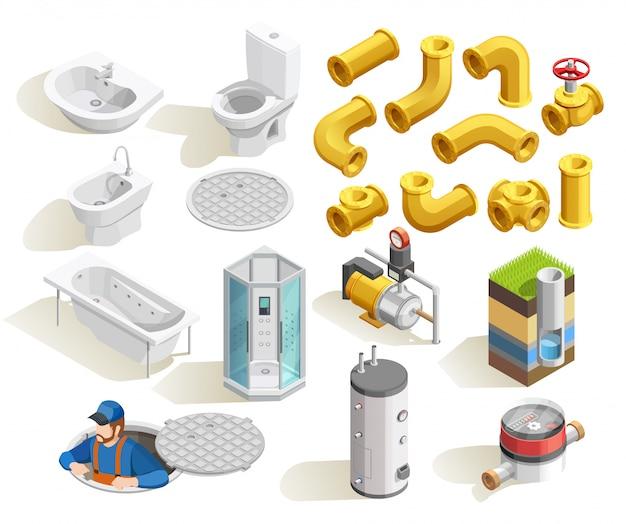 Conjunto de iconos isométricos de fontanero