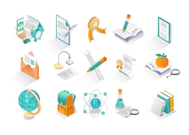 Conjunto de iconos isométricos, formación educativa y regreso a la escuela.