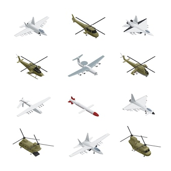 Conjunto de iconos isométricos de la fuerza aérea militar aviones y helicópteros con diferentes tipos de colores, tamaños y propósitos