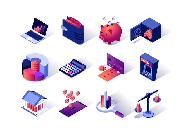 Conjunto de iconos isométricos de gestión financiera.