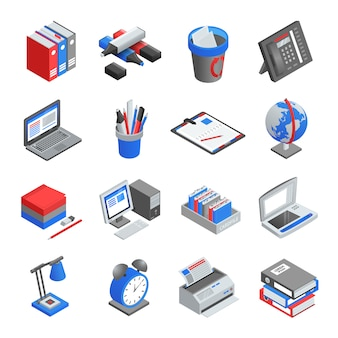 Conjunto de iconos isométricos de herramientas de oficina