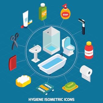 Conjunto de iconos isométricos de higiene