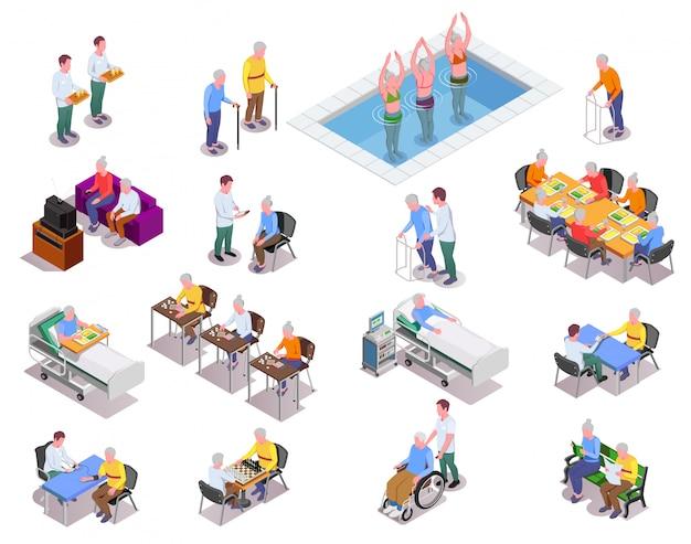 Conjunto de iconos isométricos de hogares de ancianos con personal que monitorea pacientes y personas mayores que juegan ejercicios deportivos o juegos de mesa aislados