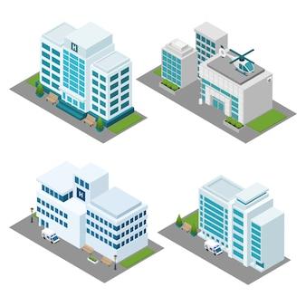 Conjunto de iconos isométricos de hospital