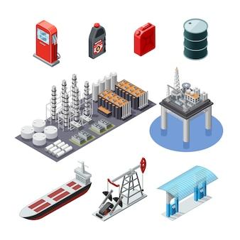 Conjunto de iconos isométricos de la industria del petróleo