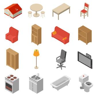 Conjunto de iconos isométricos interiores