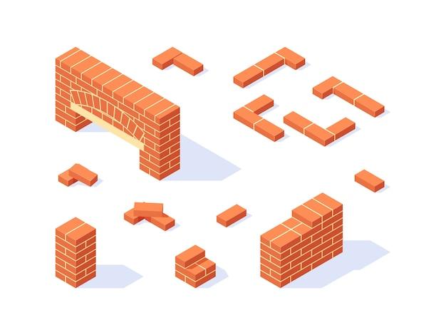 Conjunto de iconos isométricos de ladrillo