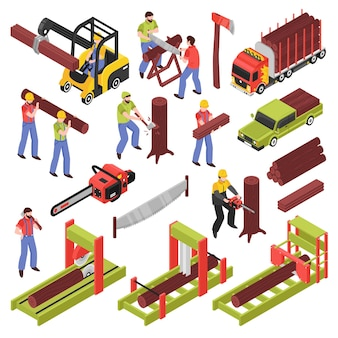 Conjunto de iconos isométricos de leñador de trabajadores aserrando árboles y troncos con sierra de mano y equipo de marco de sierra aislado