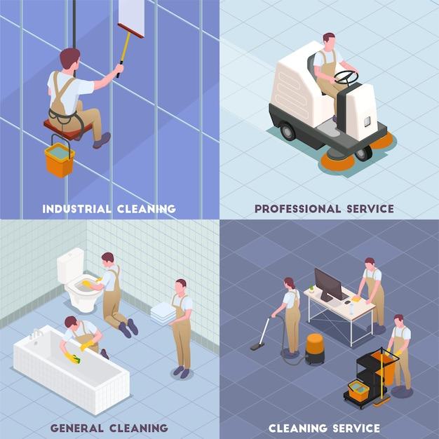 Conjunto de iconos isométricos de limpieza con ilustración de descripciones de limpieza general de servicio profesional de limpieza industrial