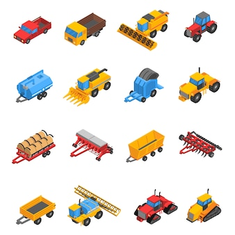 Conjunto de iconos isométricos de máquinas agrícolas
