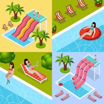 Conjunto de iconos isométricos de parque acuático aquapark