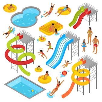 Conjunto de iconos isométricos de parque acuático
