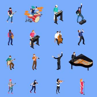 Conjunto de iconos isométricos de personas músicos