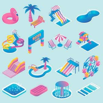 Conjunto de iconos isométricos planos de parque acuático