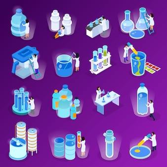 Conjunto de iconos isométricos y planos de purificación de agua con científicos que trabajan en la ilustración del laboratorio