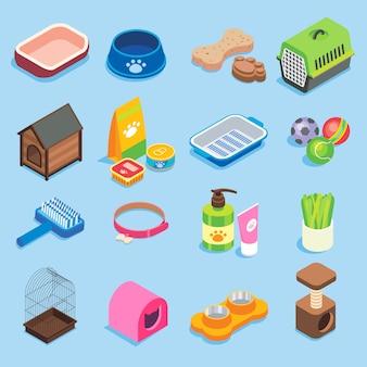 Conjunto de iconos isométricos planos de tienda de mascotas