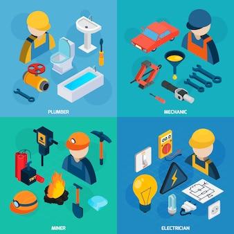 Conjunto de iconos isométricos de profesiones técnicas