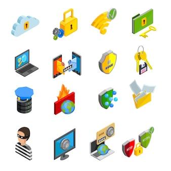 Conjunto de iconos isométricos de protección de datos
