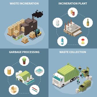 Conjunto de iconos isométricos de reciclaje de basura con incineración de desechos, procesamiento de basura y descripciones de recolección de desechos