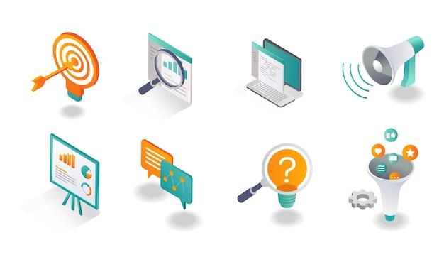 Conjunto de iconos isométricos redes sociales y estrategia de marketing.