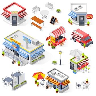 Conjunto de iconos isométricos de restaurante y cafetería de la calle